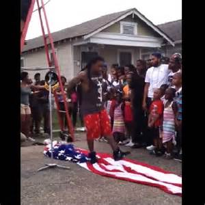 Lil Wayne Steps on America Flag While Filming a Music Video