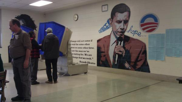 Obama Mural Painted Within Polling Station In Philadelphia