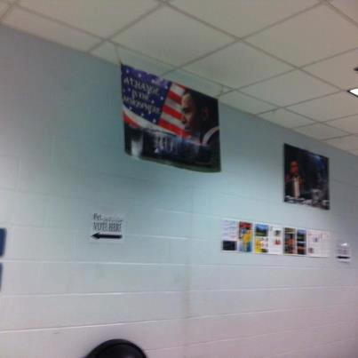 Obama Poster Hanging in Florida Polling Station