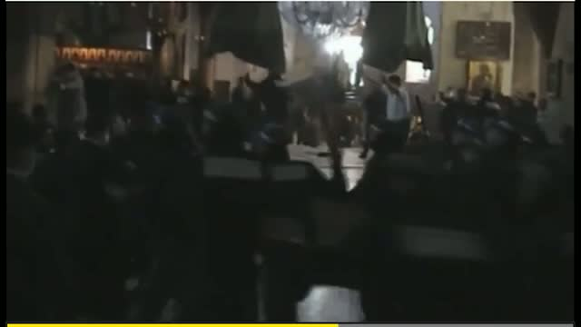 Monks have stick fight in the church of the nativity in Bethlehem