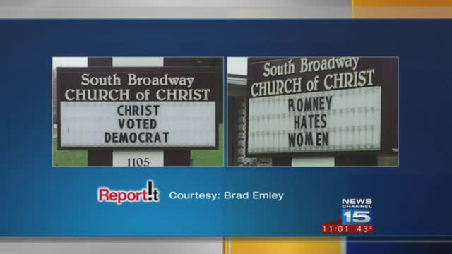 Intolerant Liberals Alter Church Sign With Anti-Romney Message