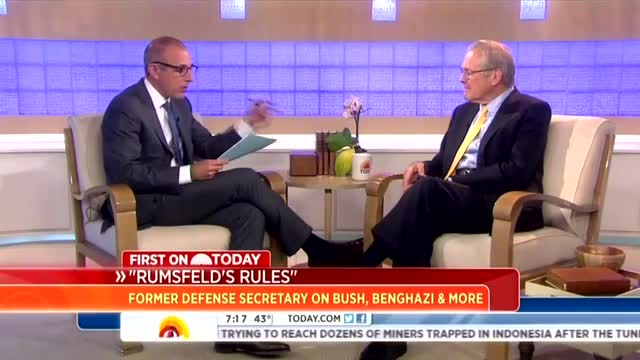 NBC's Lauer Asks Rumsfeld if Benghazi Scandal is Just GOP Trying to 'Discredit' Hillary