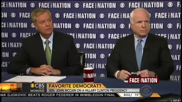 For Two Days in a Row, CBS Pushes Hillary Clinton as John McCain's 'Favorite Democrat'