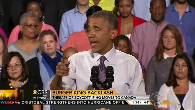 CBS Plays Up Backlash Against Burger King's Move To Canada: 'Some In Washington Are Fuming'