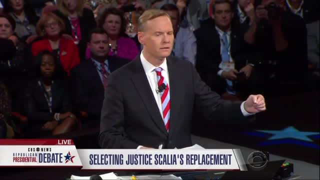 CBS's Dickerson Starts GOP Debate by Parroting Obama, Reid Arguments on Replacing Scalia