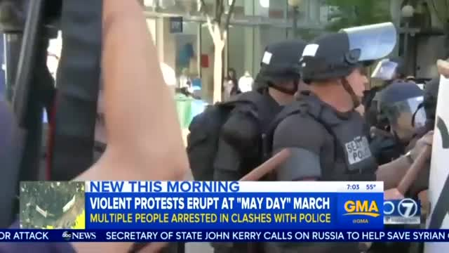Networks: May Day Riot Began as 'Peaceful' Protest for 'Worker & Immigrant Rights'