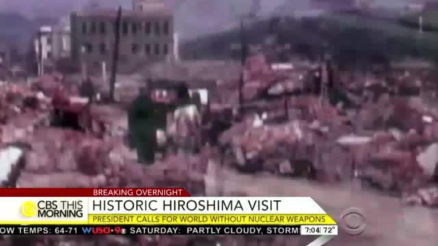 Nets Hail 'History' in Hiroshima, Tout Obama Calling for 'World Without Nuclear Weapons'