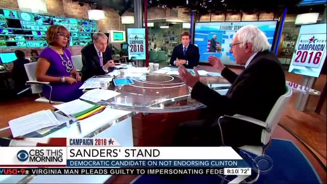 CBS Burns Bernie For Not Dropping Out And Bowing To Clinton