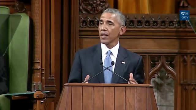 Obama, in Canada, Rejects 'Bygone Days of Order and Predictability and National Glory'