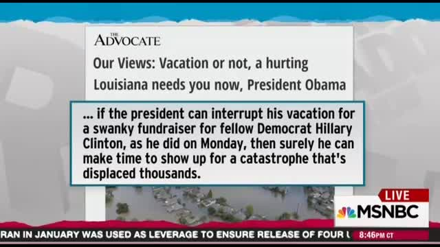 MSNBC's Maddow: Blame Jindal, Not Obama For Any Slow Flooding Response