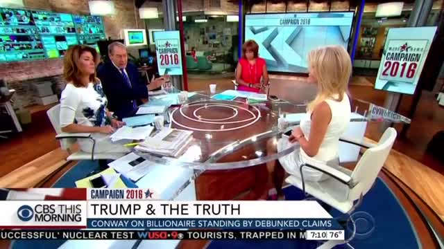 CBS Hounds Conway on Trump's Foreign Policy; Touts Kaine on Race