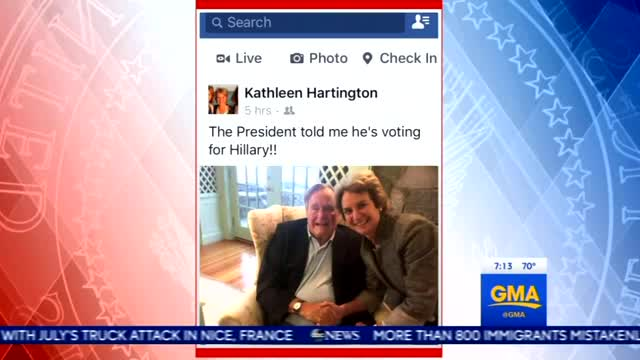 Nets Giddy: This Democrat Says Bush 41 is Voting for Hillary!