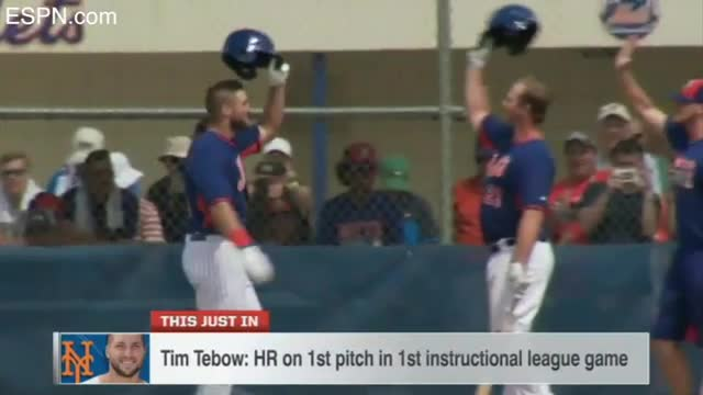 Tim Tebow Belts HR on First Pitch as Pro Baseball Player