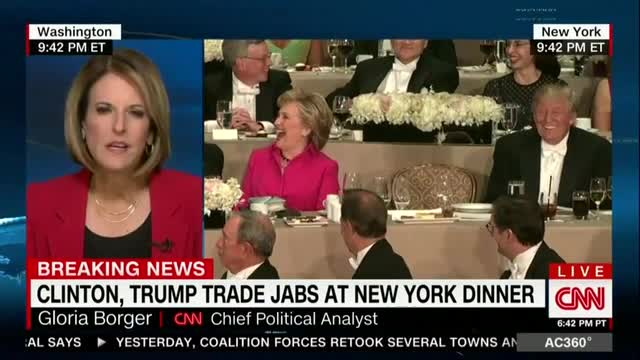 CNN Hails 'Singeing,' 'Traditional' Hillary Roasting Unfunny Trump at Al Smith Dinner