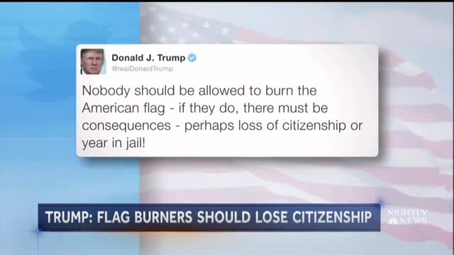 Nets Torch Trump on Flag Burning Ban, Extinguish Clinton's Ban Support