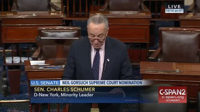 Schumer: No on Gorsuch, Democrats Will Filibuster