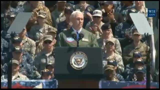 From Carrier Flight Deck Pence Warns North Korea: The US Seeks Peace, But 'The Sword Stands Ready'